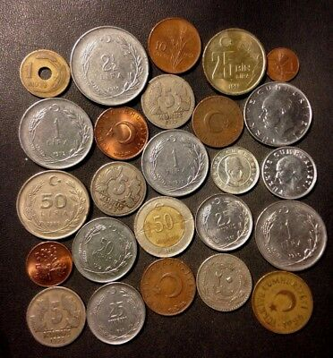 Old Turkey Coin Lot - 1910-PRESENT - 25 Great Islamic Coins - Lot #N16