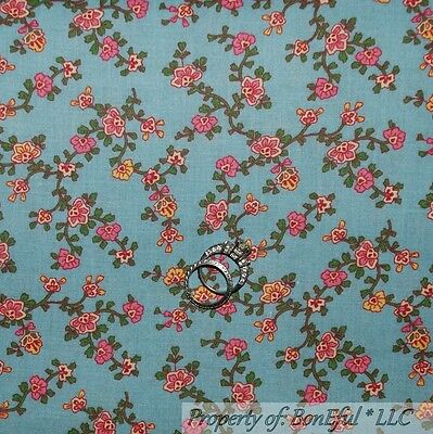 BonEful FABRIC FQ Cotton Quilt Blue White PInk Yellow VTG Flower Country Calico