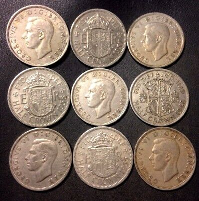 Vintage Great Britain Coin Lot - 9 Great Half Crowns  - Lot #N16