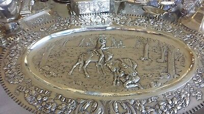 800g XIXc EXTRA SIZE TRAY HEAVY CARVING EPIC ROMANTICISM SCENES SOLID SILVER