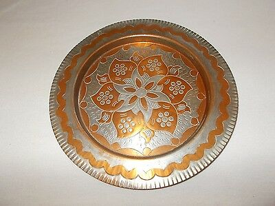Beautiful vintage Greek made tinned copper floral pattern decorative tray plate