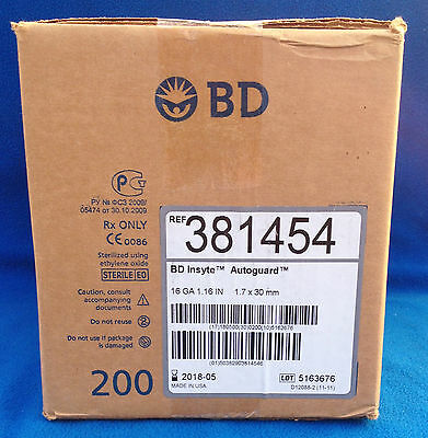 Box of 200 BD Insyte Autoguard - 16ga 1.16 inch 2018 - Model 381454 - NEW IN BOX