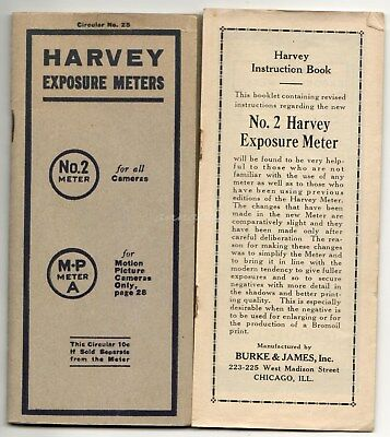 Harvey Exposure Meters Camera Motion Picture 1919 Circular No 2 Instruction MP A