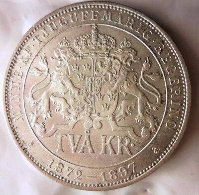 1897 SWEDEN 2 KRONOR - AU/UNC - LOW MINTAGE Silver Crown Coin - Lot #N16