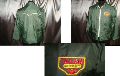 M NEW vtg 60s windbreaker jacket TROJAN NORTHERN BRED SEED CORN ring zip western