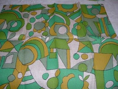 2 Vtg Lot 60s-70s Eames Erra Teal Lime Floral Woven Upholstery Sew 2@ 16x20 #FQ