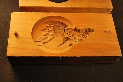 """VINTAGE JAPANESE WOOD CARVED CAKE / CANDY MOLD """"Kashigata""""  Crane in the Moon"""
