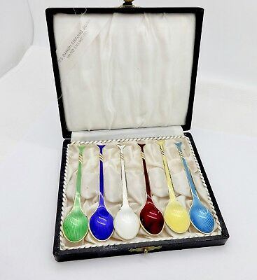6 Meka Denmark Enameled Gilt Sterling Silver Coffee Spoons,box