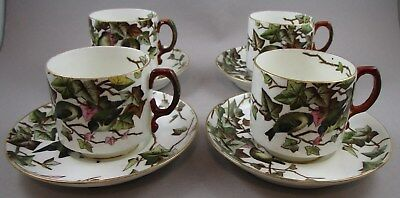 FOUR Antique George Jones Ivy Bower Cups and Saucers