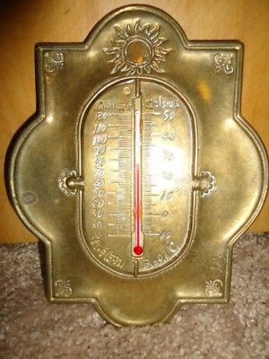 Vintage Brass Thermometer Gauge Wall Hanging Celsius Fahrenheit