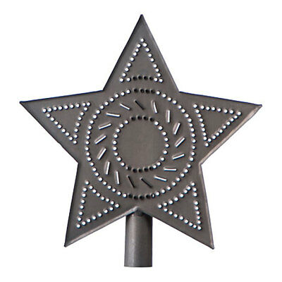 Country new small blacken punched tin STAR tree topper/NICE
