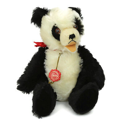 Vintage Hermann Mohair Panda Teddy Bear Open Mouth Chest Tag Made West Germany