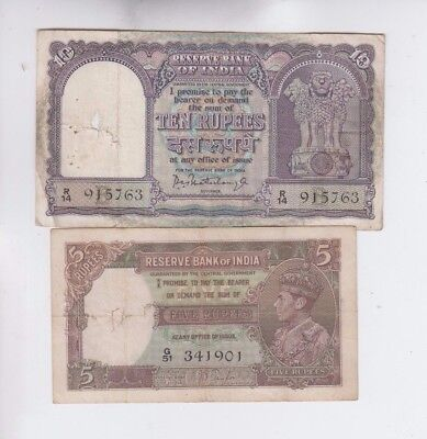 India Paper Money two old notes lower grade and up