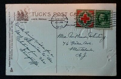 1910 Scotts #WX6 Christmas Seal Tied To Cancellation Tuck's Christmas Postcard