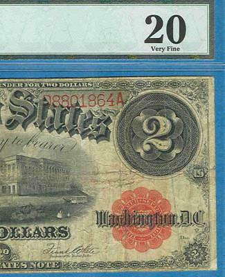 $2.00 Fr.60 1917 Red Seal Legal Tender United States Note Pmg Certified Vf20