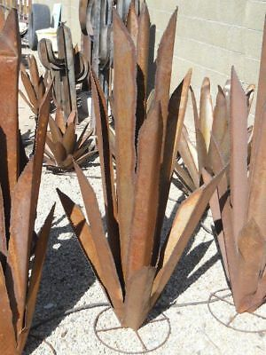 """Metal AGAVE CACTUS 48"""" Rusty landscape yard decor art Southwest Mexican pottery"""