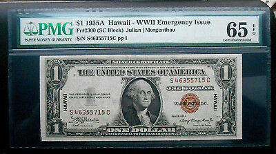 1935A $1 Hawaii Emargency Issue Silver Certificate Fr.#2300 SC Blk. PMG GEM Unc.