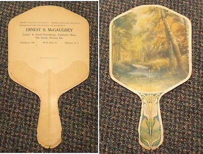 c1920s Milltown New Jersey Ernest McGaughey Clothing Dry Goods ad fan -48 N Main