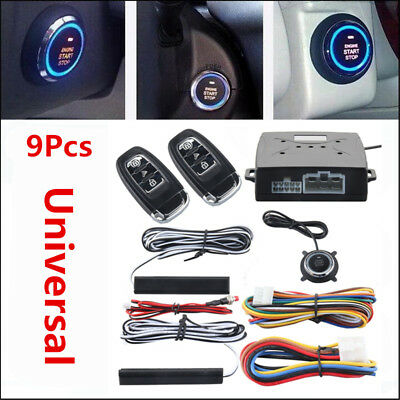 9X Keyless Car Alarm Kit Start/Stop Remote Button Engine Starter Ignition System