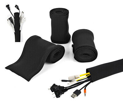 """3 PACK 40"""" Cable Management Sleeve 120 Inches Neoprene Wire Cord Cover Organizer"""