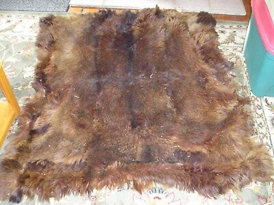 Antique primitive 1800s or earlier  Hand Made Blanket  bear fur