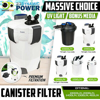 Aquarium External Canister Filter Aqua Fish Tank 400 1000 1400 2000 10000L/H
