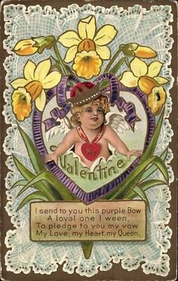 Präge Litho Valentinstag, To my Valentine, I send you this purple Bow - 1782176
