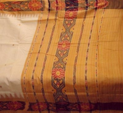 Antique Vintage 100% Pure Silk Fabric Ikat Weaving Woven Sari Saree Free Shiping