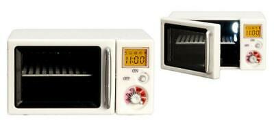 Melody Jane Dolls House Light Up Microwave Oven Modern Kitchen Accessory White