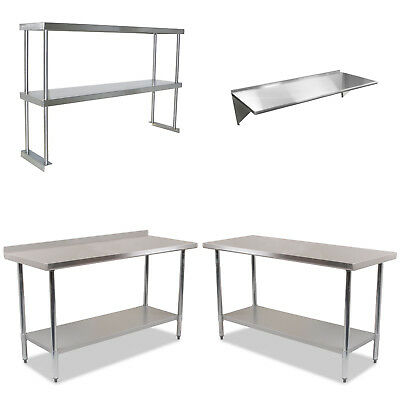 Stainless Steel Commercial Catering Table Work Bench Kitchen Back splash Shelve