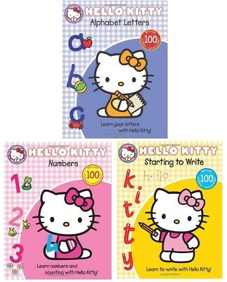 NEW  3 x HELLO KITTY  ALPHABET LETTERS NUMBERS WRITE - REWARD CHARTS / STICKERS