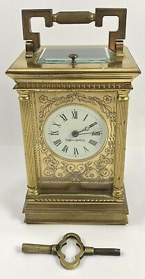 MAPPIN & WEBB LTD Brass Carriage Mantel Clock Timepiece with Key Repeater