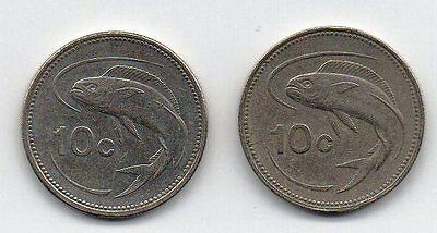 1991 & 1998 Malta Coins  2 x 10c As Per scanned images