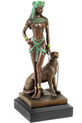 BRONZE CLEOPATRA SCULPTURE COLOUR VERSION sexy LADY NEU AKT FIGUR mit RAUBKATZE