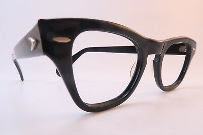 Vintage 50s Bausch & Lomb eyeglasses frames black acetate 46-22 made in the USA