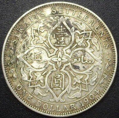 Straits Settlements 1904 Silver Dollar  Km# 25  Choice Extremely Fine