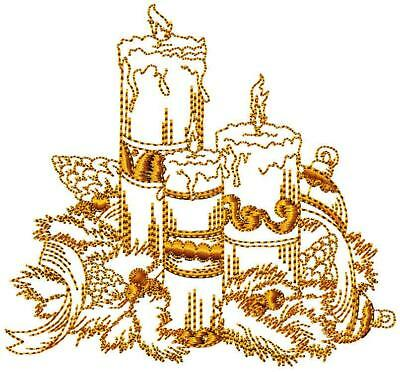 Christmas Candles Redwork10 Machine Embroidery Designs 2 Sizes