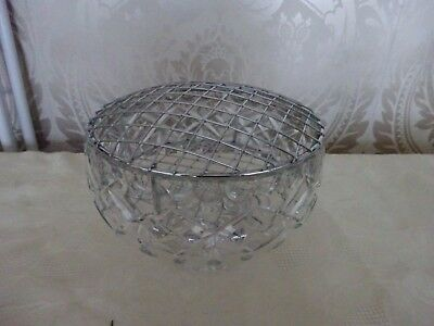 Vintage Retro Large Cut Glass Lead Crystal Rose Bowl With Metal Frog Insert