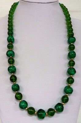 """Stunning Vintage Estate 12Kgf High End Glass Bead Green 26"""" Necklace!!! 7992S"""