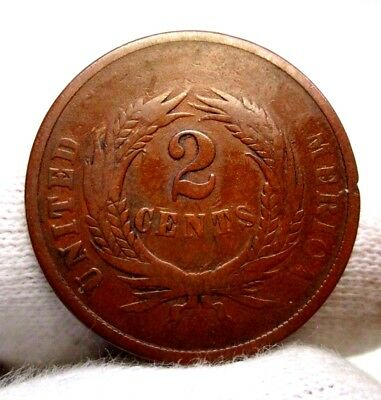 1864 2 Cent Copper Coin US COIN Two Cents Coin