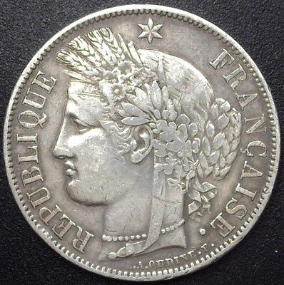 France 1850-A Silver 5 Francs  Extremely Fine