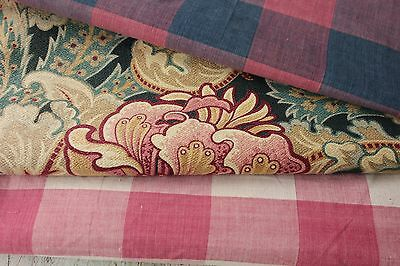 Vintage French fabrics antique material PROJECT BUNDLE homespun printed woven