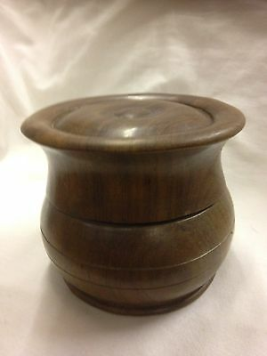 Lidded Hardwood Pot Handmade Tobacco ?