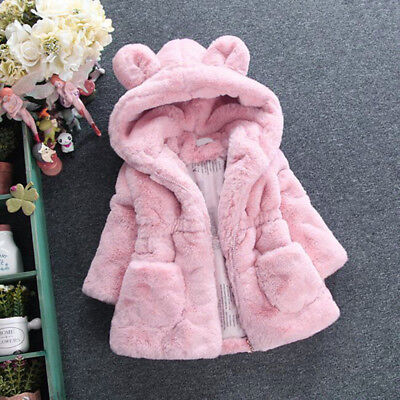 1Pc Kids Baby Girl Fur Warm Hooded Coat Fleece Jacket Outwear Clothes 3 Colors