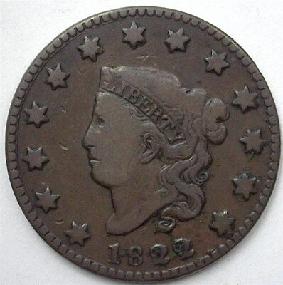 1822 Coronet Head Large Cent Very Fine+  Scarce!