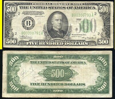 1934-A $500.00 Federal Reserve Note- New York- No Reserve
