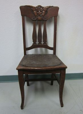 Antique Gothic Carved Devil Wood Chair Leather Seat Theatre Halloween Macabre