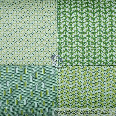 BonEful FABRIC FQ Cotton Quilt Benartex Green Blue Cream Baby Nursery Stripe Dot