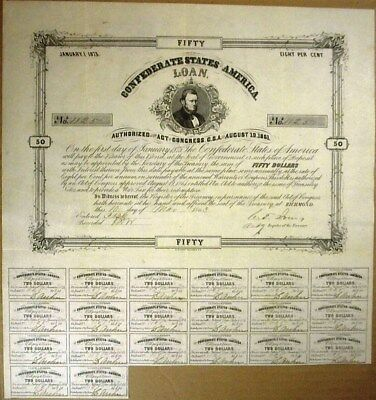 1863 Confederate States Of America $50 Bond Cr#20  20 Coupons Attached Rare!