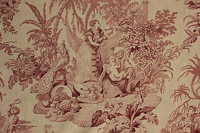 Antique French fabric pink mauve Peacock tennis cretonne fabric upholstery